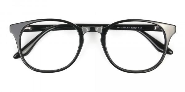 Black Wayfarer Style Glasses in Thin Frame - 6