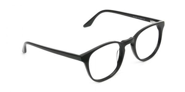 Black Wayfarer Style Glasses in Thin Frame - 2