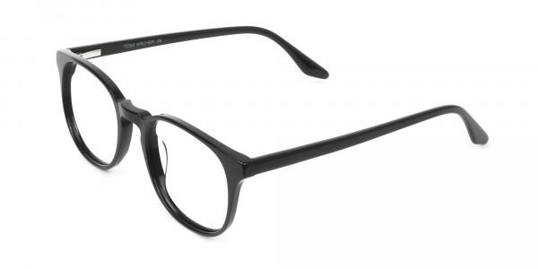 Black Wayfarer Style Glasses in Thin Frame - 3