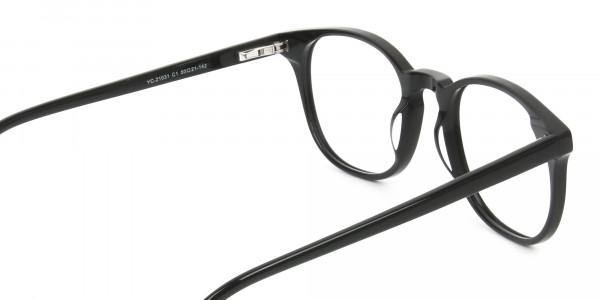 Black Wayfarer Style Glasses in Thin Frame - 5