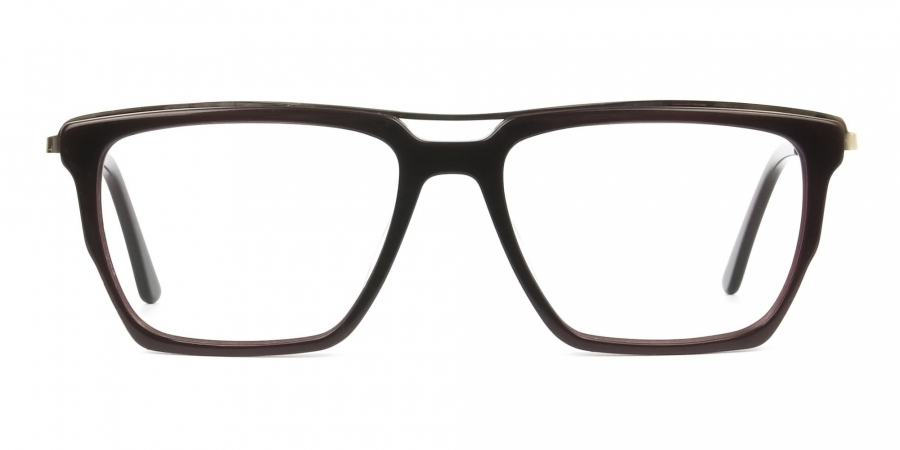 Dark Brown & Gold Double Bridge Glasses
