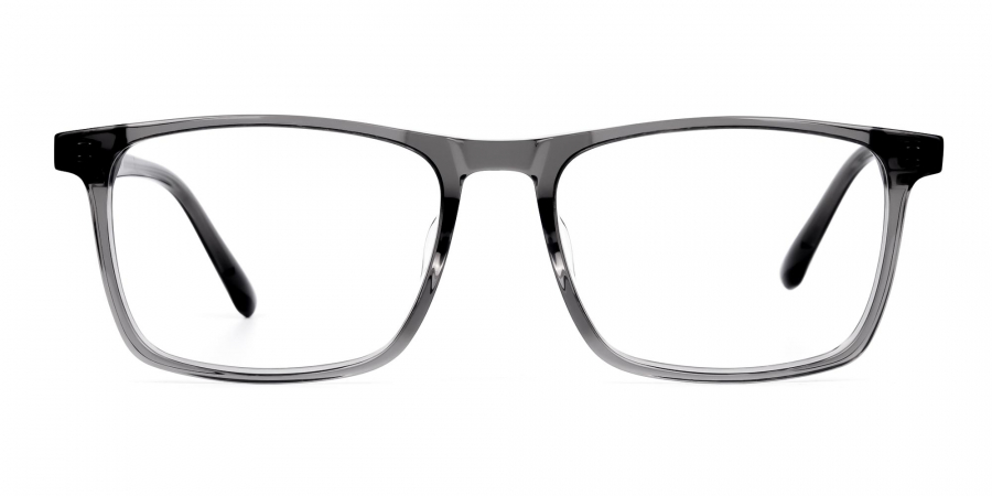 Crystal and Light Grey Rectangular Glasses