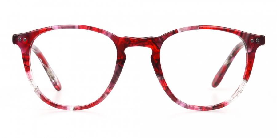 Rose Red Marble Wayfarer Glasses Men Women