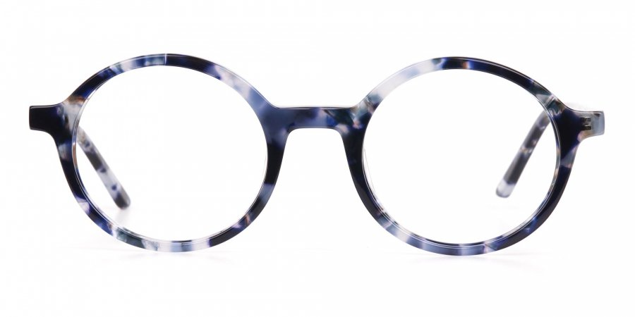 Navy Blue Tortoise Round Acetate glasses Unisex