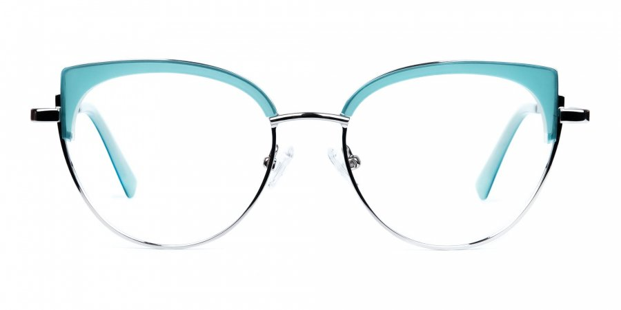 Blue and Silver Cat Eye Glasses Frame