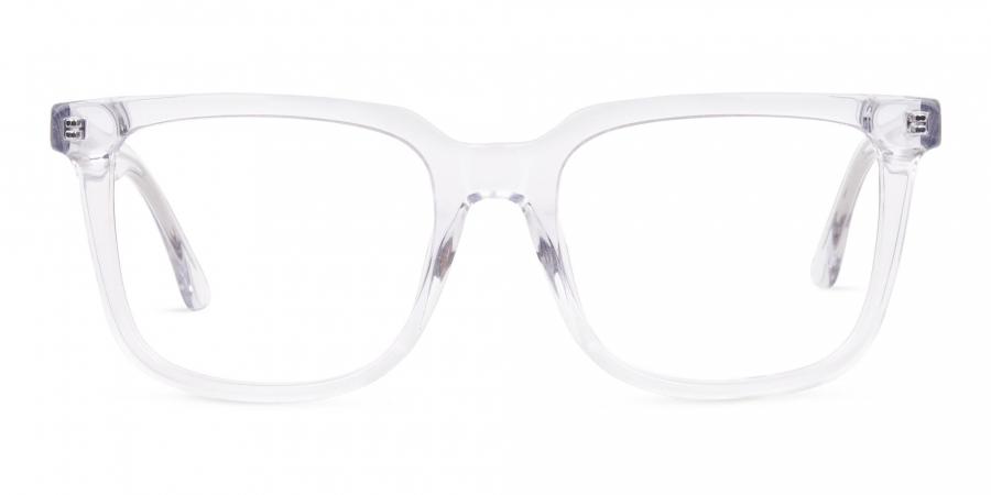 Full Rim Crystal Clear Wayfarer Eyeglasses