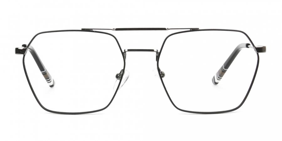 Hipster Geometric Black & Gunmetal Thin Metal Frame Glasses