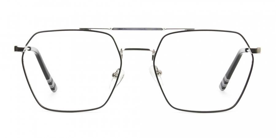 Black & Silver Thin Metal Glasses in Hipster Geometric Frame