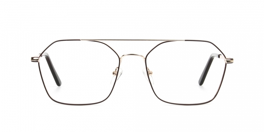 Geometric Aviator Brown & Gold Spectacles