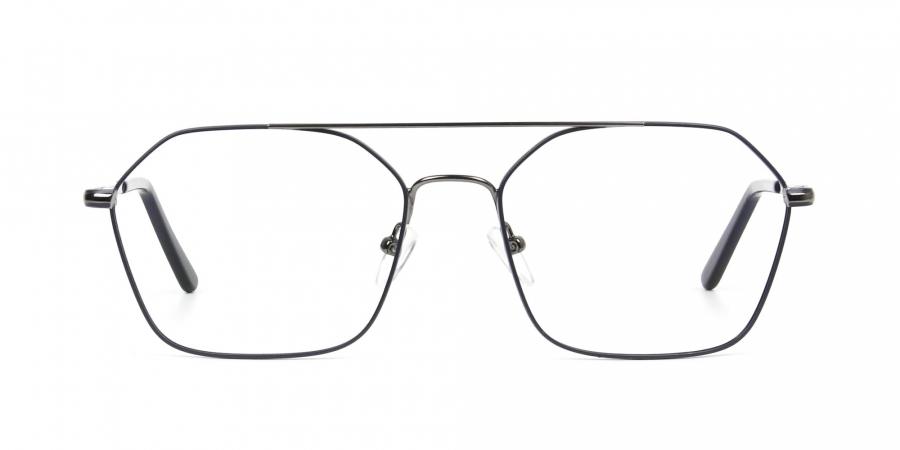 Geometric Aviator Dark Grey Gunmetal Spectacles