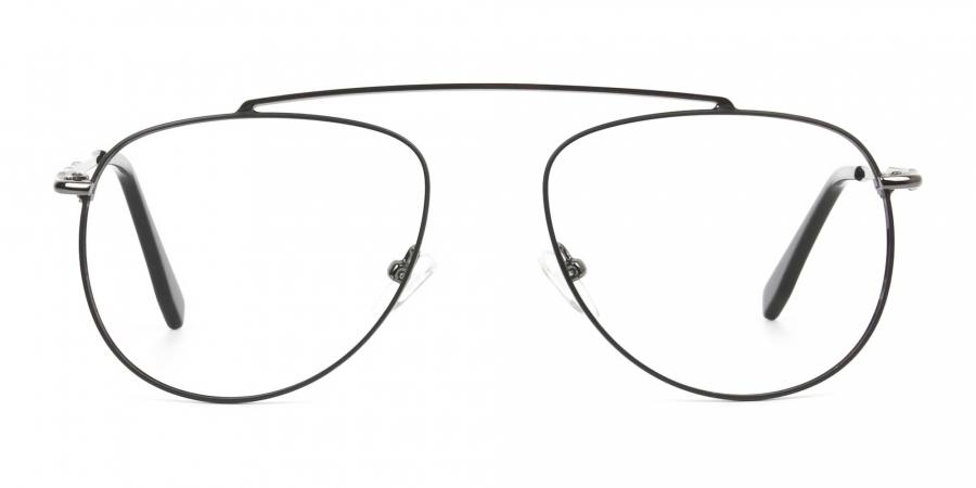 Silver & Dark Navy Thin Metal Aviator Frame Glasses