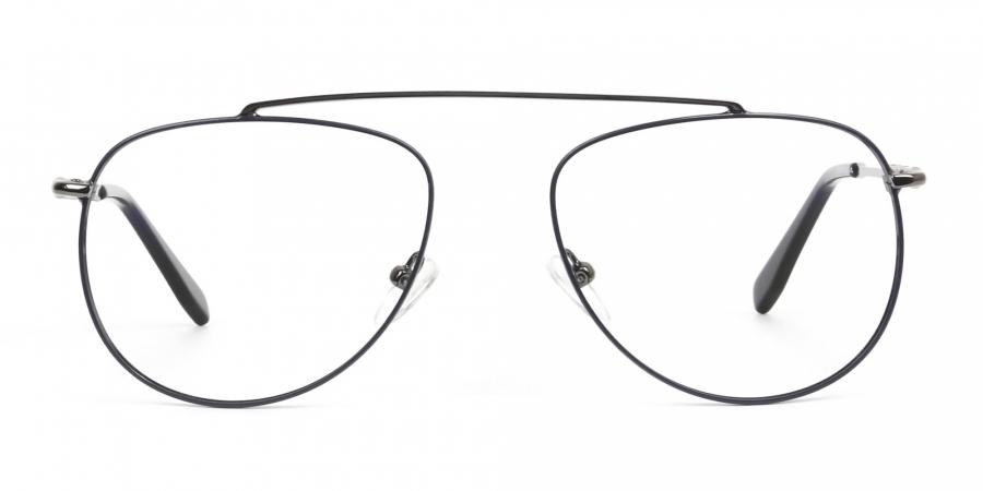 Gunmetal & Dark Navy Thin Metal Aviator Glasses