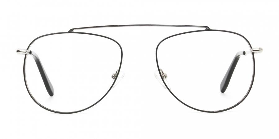 Silver & Dark Green Aviator Glasses