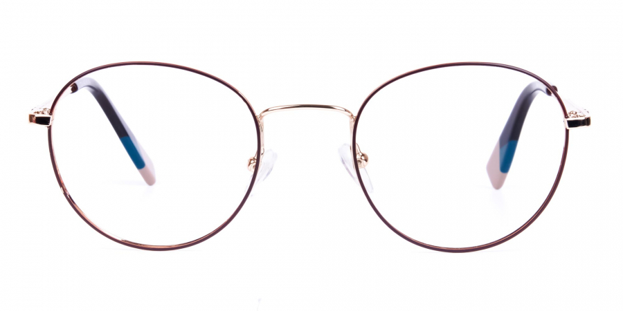 Brown and Gold Round Glasses