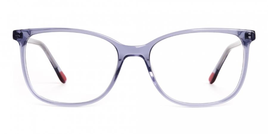 transparent grey wayfarer cateye round glasses frames