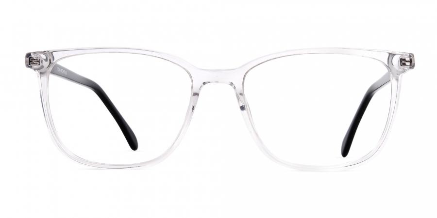 Crystal Clear Wayfarer and Rectangular Glasses Frames