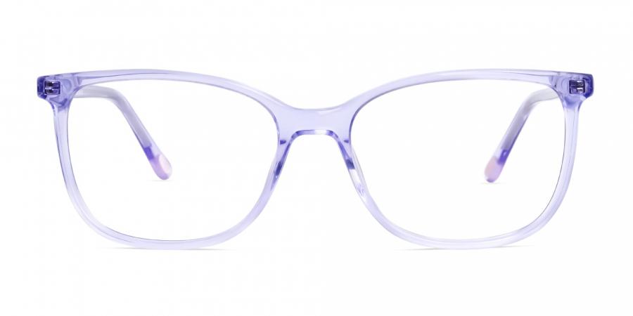 transparent and crystal clear purple wayfarer cateye glasses frames