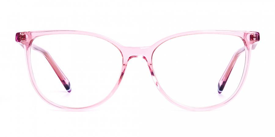 Crystal Pink transparent Cat eye Glasses Frames