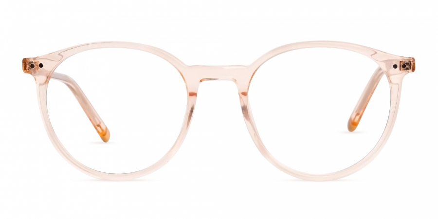 transparent and crystal clear orange round glasses frames