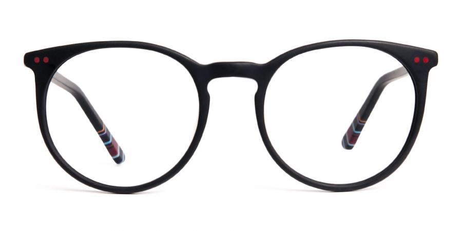 Matte Black Designer Round Glasses frames