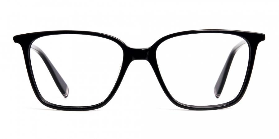 black glasses in rectangular cat eye frames