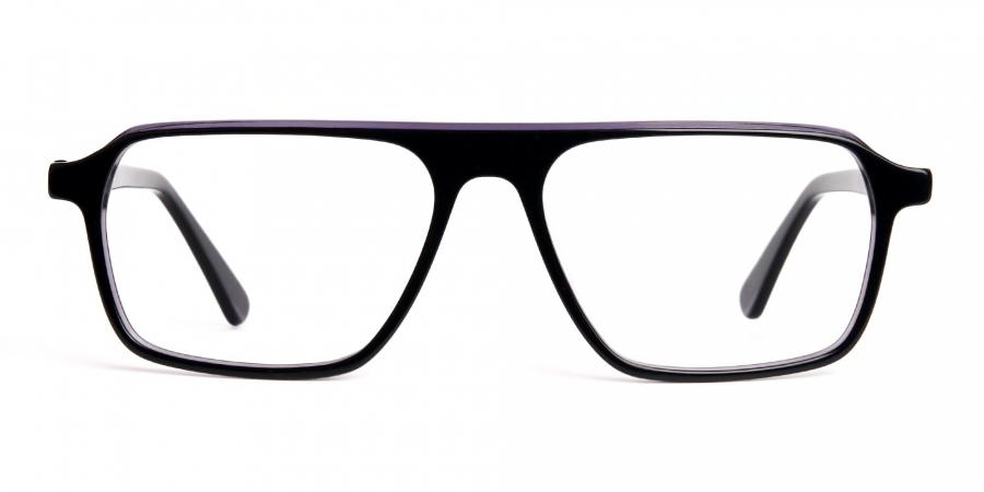 Black and Grey Rectangular Full Rim Glasses frames