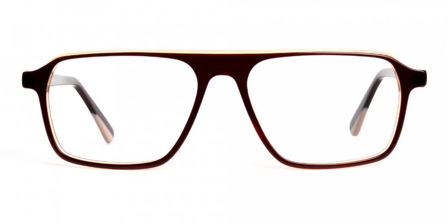 Brown and Black Rectangular Full Rim Glasses frames