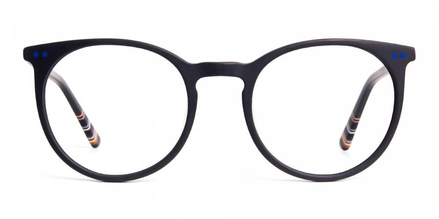 matte black indigo blue designer round glasses frames