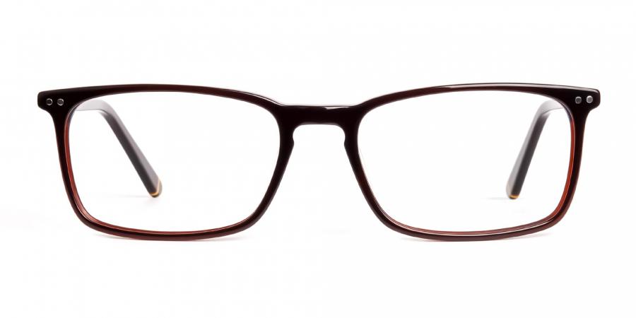 brown glasses rectangular shape frames