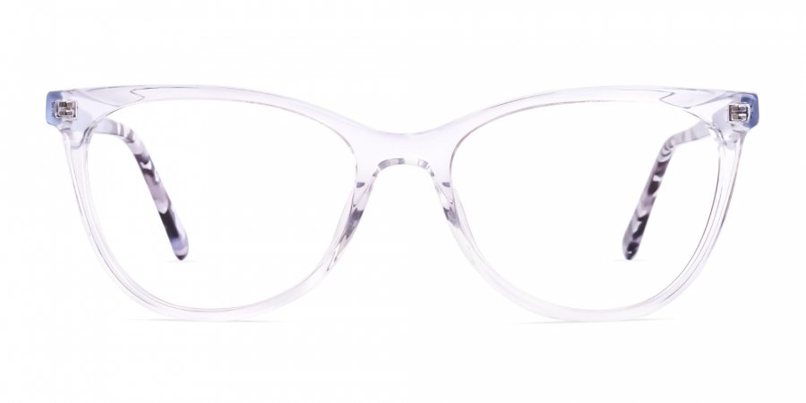 transparent light blue cat eye glasses frames