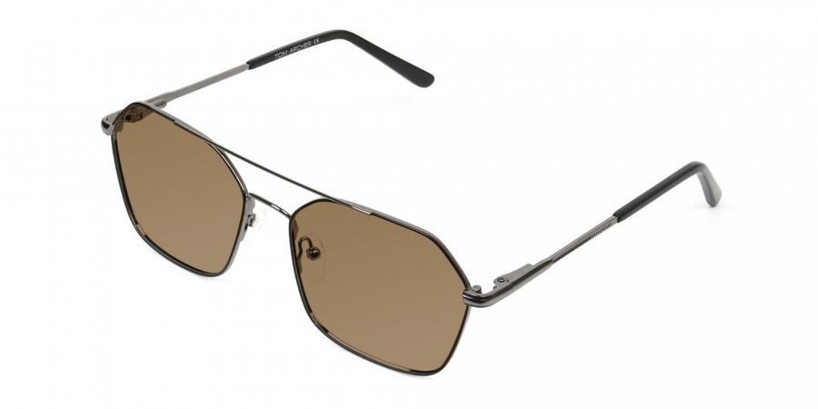 black gunmetal geometric aviator brown tinted sunglasses frames