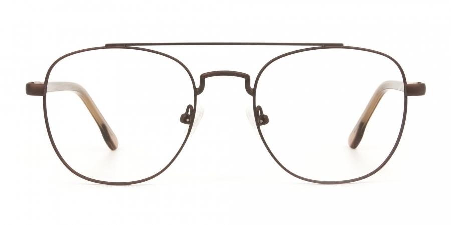 Honey Brown Aviator Wayfarer Glasses in Metal