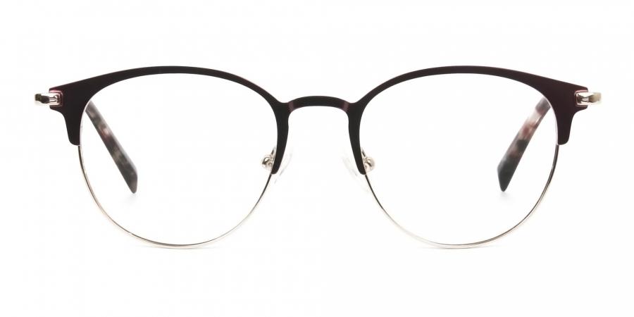 Keyhole Burgundy Browline Glasses in Round Men Women