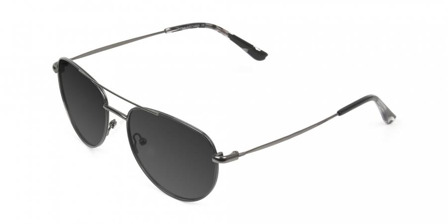 Grey Tinted Dark Navy Blue Aviator Sunglasses