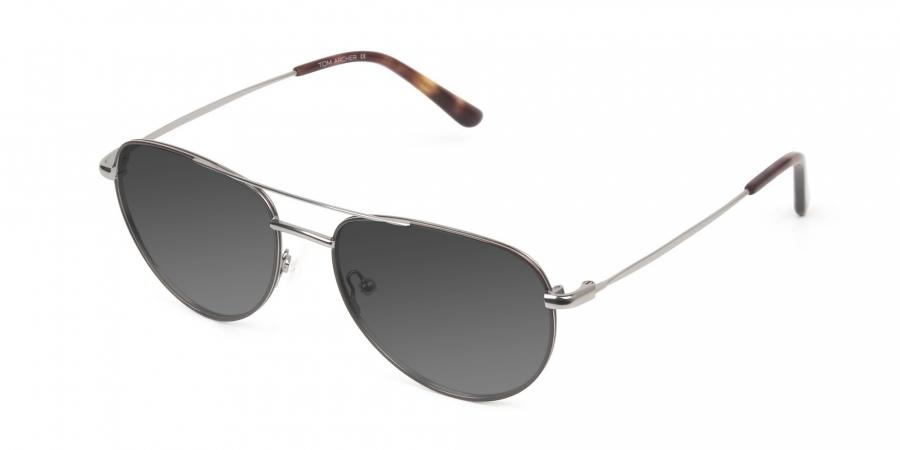 Grey Tinted Brown Gunmetal Aviator Sunglasses