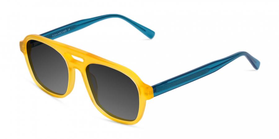 Yellow Aviator Sunglasses with Grey Tint