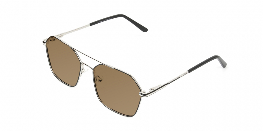 ultralight silver black geomatric aviator brown tinted sunglasses