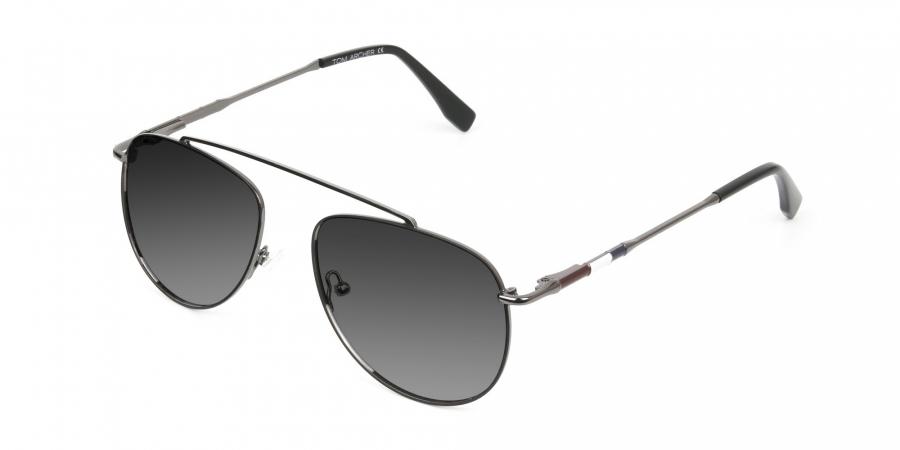 dark navy silver metal Grey tinted aviator sunglasses