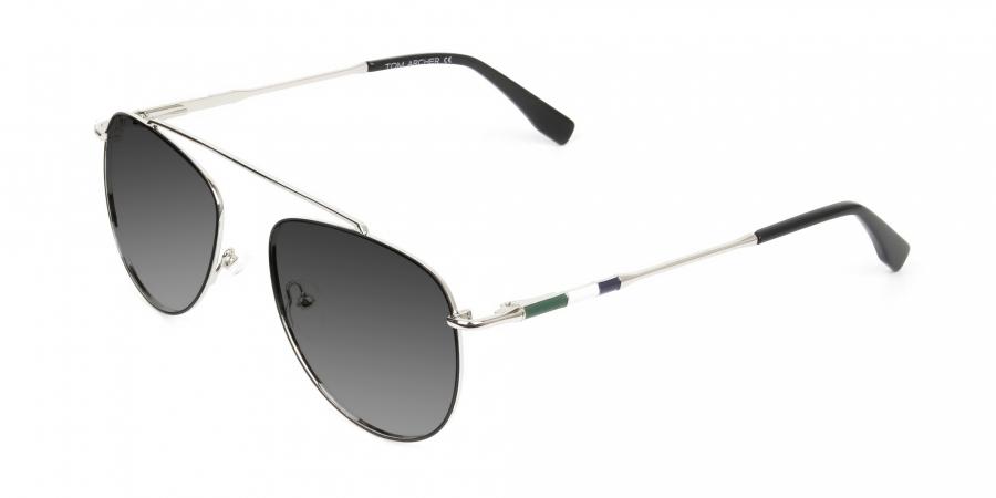 silver green thin frame aviator Grey tinted sunglasses