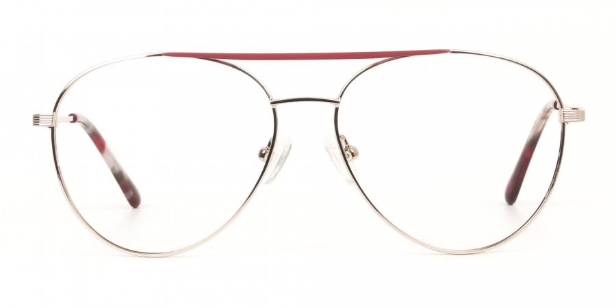 Red & Gold Flat Bridge Aviator Glasses in Metal