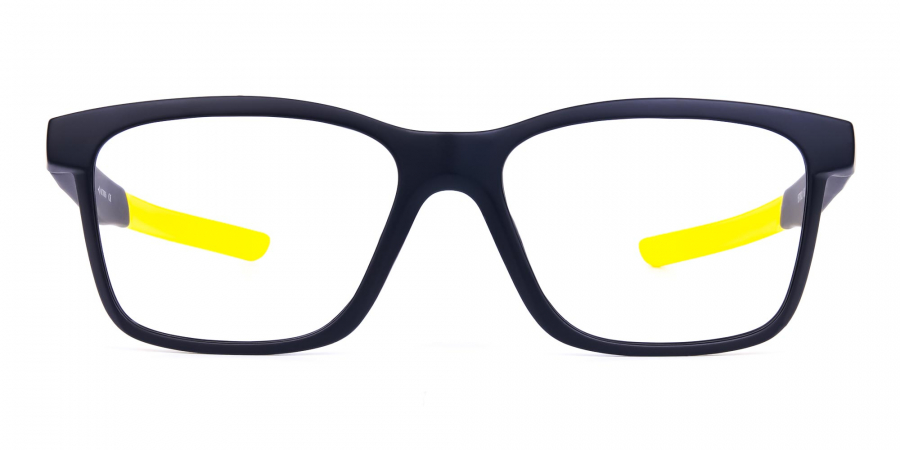 Black and Bright Yellow Cycling Glasses For Women In Rectangular Shape