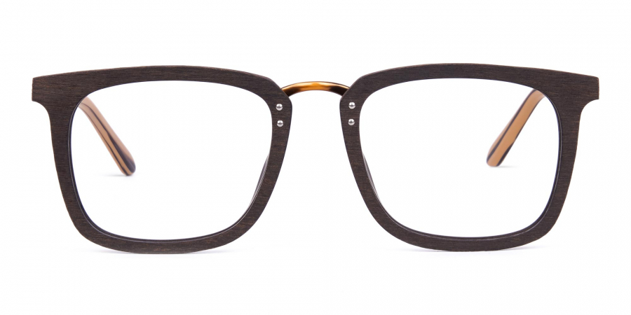 Brown Square Wooden Glasses Frame