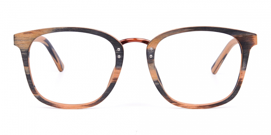 Wooden Texture Brown and Grey Rim Glasses