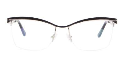 Woman Black Half Rimmed Designer Glasses UK