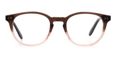 Mocha Brown & Crystal Beige Two Tone Glasses
