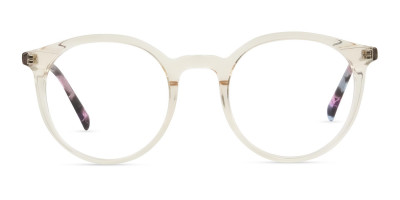 Crystal Amber Yellow Glasses Frames with Pink & Blue Tortoise Temple