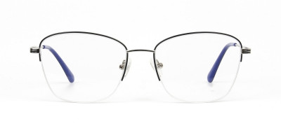 Silver Dark Navy Blue Half Cat Glasses
