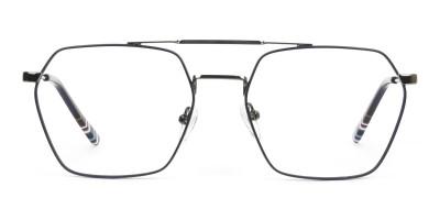 Dark Navy & Gunmetal Thin Metal Glasses