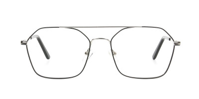 Geometric Aviator Black & Silver Spectacles