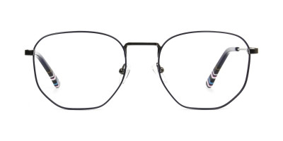 Geometric Blue Gunmetal Spectacles